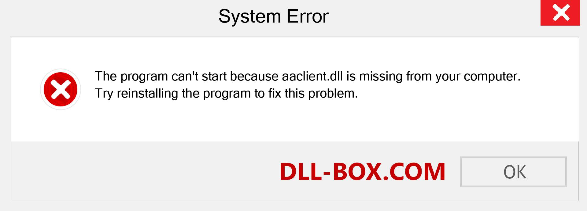 aaclient.dll file is missing?. Download for Windows 7, 8, 10 - Fix  aaclient dll Missing Error on Windows, photos, images